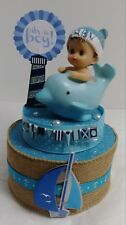 NAUTICAL SAILING DOLPHIN IT'S A BOY BABY SHOWER CAKE TOPPER TABLE DECORATION