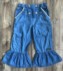 Girls Matilda Jane Chambray Flare Ruffle & Lace Trim Pants Bell Bottoms Sz 6