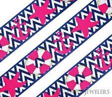 """High Quality 7/8"""" Nautical Starfish Anchor Hair Bow Printed Grosgrain Ribbon"""