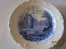 "RARE ANTIQUE ENGLISH ABBEY CHINA BLUE TRANSFER PRINT 10"" DINNER PLATE"