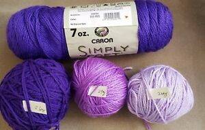 Mixed lot of 7 PURPLE/LAVENDER  yarn of different shades - textures  & weights