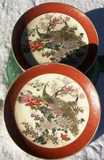 "SET OF 2 MARKED MULTI-COLOR SATSUMA JAPANESE PEACOCK 6 3/8"" PLATES"