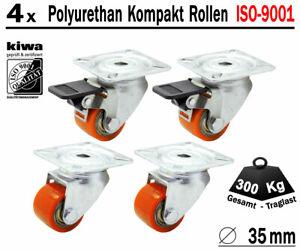 4 x 35mm Polyurethan Schwerlast Rolle Industrie Lenkrolle Traglast 400 Kg Le-Br