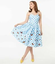 Blue Gingham & Butterfly Darcy Swing Dress Unique Vintage 1950s