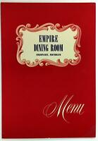 Vintage Sample Menu EMPIRE DINING ROOM Argonaut Michigan