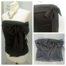 BNWT Black Silky Bustier Top Size 18 Bow Detail Party ( Removable Straps) ( T19)