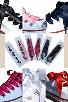 Fancy Ribbon Shoelaces With Logo Tips for Kids Childrens Adults Crystal Trainers