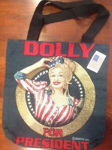 Rare Vintage 2004 DOLLY PARTON FOR PRESIDENT Tapestry Tote Bag Country Music NEW