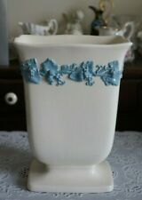 Wedgwood Etruria Barlaston Embossed Queens Ware Blue Grapes and Leaves Vase