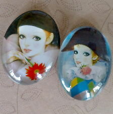 2 pcs 30x40mm Domed Oval Cabochons Character cabochon CH008