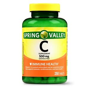Spring Valley Vitamin C Dietary Supplement, 500mg with Rose Hips, 250 Tablets