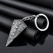 Vintage Star Wars Star Destroyer Metal Silver Keychain Ring Keyring Key Fob Gift