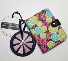 Under One Sky Vegan Passport Case & Luggage Tag Set Limes Citrus NEW WITH TAGS