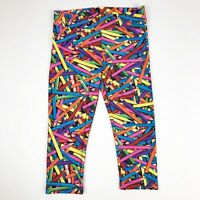 Justice Leggings Girls Size 12 Cropped Multicolor Pencil Print Athletic