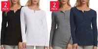 Women's Felina Long Sleeve Rib Knit Henley Tee Shirts 2-Pack Choose Size & Color