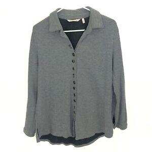 SOFT SURROUNDINGS M Sydney Shirt Gray Waffle Button Front 100% Cotton 2AU91