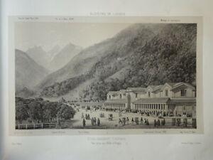 Victor PETIT (1817-1871) LITHO VUE BAGNERES DE LUCHON PYRENEES OCCITANIE 1860 g