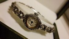 SOLID Sterling Silver FOREIGN 17 Jewels WRISTWATCH with MARCASITE Link Strap***