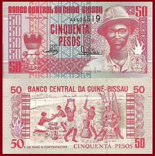 Guinea-Bissau P10, 50 Pesos, Maiame drum, PansauNa / topless women, cauldron UNC