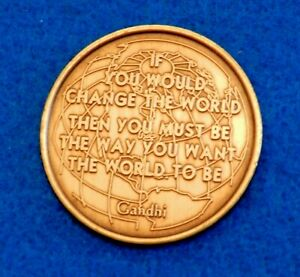 Bronze Medal - Ghandi Quote - Change the World - See PICS