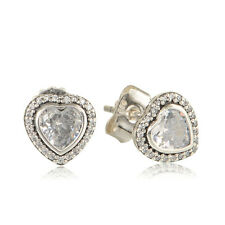 Elegant Love Heart Solid Sterling Silver Stud Earrings Pave Set Cubic Zirconia