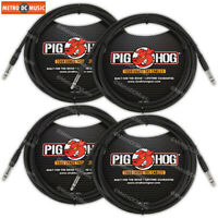 """4-PACK Pig Hog 10 FT Foot 1/4"""" TRS Balanced Stereo to 1/4"""" TRS Cable Plug 8mm"""