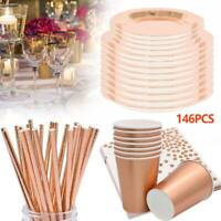 146PCS Rose Gold Foil Paper Plates Straws Disposable Tableware Wedding Party