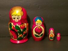 Vintage 4 Pc Red Russian Nesting Doll Hand Made In Russia in Excellent Condition