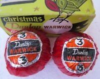 2 COLORFUL WRAPPED DUNLOP WARWICK GOLF BALLS IN A CHRISTMAS BOX