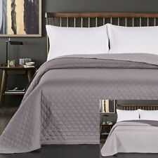 Silver Dark Grey Double / King Size 220x240cm Reversible Bedspread Quilt Bedding