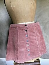 Forever 21 WIDE WALE Stretch Corduroy Cord MINI SKIRT WOMEN Shrimp SNAPS FRONT S