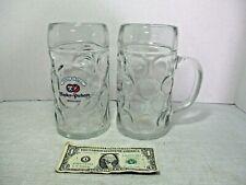 2 Huge Glass Beer Mugs Tankard Stein - Hacker-Pschorr Munchen himmel der Bayern