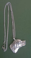pewter pendant, dog design, hand made in Cornwall with surgical steel chain