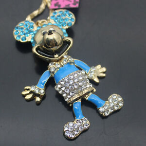 W00199   Betsey Johnson Crystal Enamel Cute Mouse   Pendant Chain Necklaces