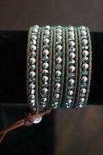 NEW Chan Luu Swarovski Crystal Silver Pearl Semi Precious Stone 5 Wrap Bracelet