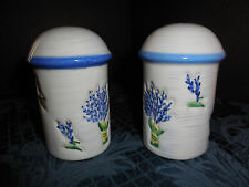 WHITE MUSHROOM SHAPED WITH BLUE FLOWERS SALT AND PEPPER SHAKERS EUC
