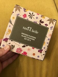 Sass & Belle Set Of 4 Pressed Flowers Glass Coasters - Perfect For Mother's Day