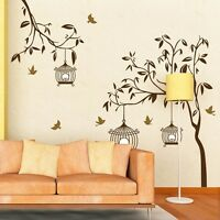 Beautiful Cage Tree Removable Mural Vinyl Decal Wall Sticker Art Room Home Decor