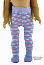 """Lavender Striped Thick Tights made for 18"""" American Girl Doll Clothes Accessory"""