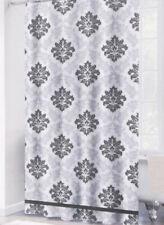 Gray White Diamond Damask Shower Curtain w/Hooks Elegant