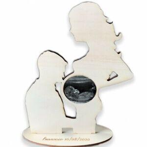 Porta ecografia Mamma incinta cornice in legno con incisione personalizzata