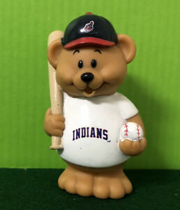"""Russ Berrie & Co MLB Cleveland Indians 5"""" Bear Rubber Toy Figure RARE"""
