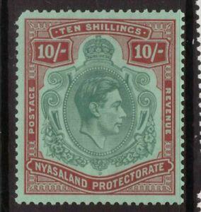 Nyasaland  King George VI 1938  10 shillings mounted mint  SG 142