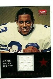 TONY DORSETT 2004 FLEER GREATS GLORY OF THEIR TIME RED EDITION GAME USED JERSEY