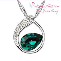18K White Gold Plated Made With Swarovski Crystal Oval Circle Teardrop Necklace