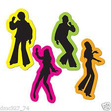 (4) 70s Decade Party Decoration DISCO Saturday Night Fever Cutouts SILHOUETTES
