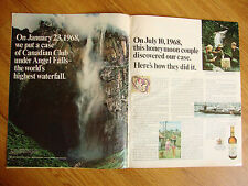 1968 Canadian Club Whiskey Ad Angel Falls Honeymoon Couple Find Case 7/10/1968