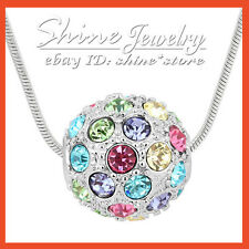 9K WHITE GOLD GF P155 SOLID BALL PENDANT SIMULATED Ruby Sapphire Amethyst TOPAZ