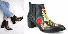 WOMENS LADIES BLOCK HEEL COWBOY WESTERN STYLE EMBROIDERED ANKLE BOOTS SHOES SIZE