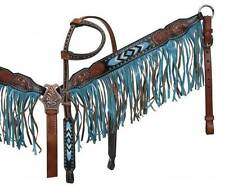 Showman headstall set with turquoise beaded inlay and turquoise fringe! New Tack